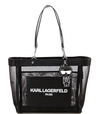 KARL LAGERFELD PARIS Adele Black Mesh Tote Bag