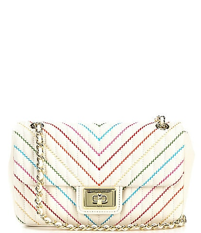 KARL LAGERFELD PARIS Agyness Rainbow Quilted Leather Shoulder Bag