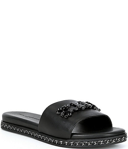 KARL LAGERFELD PARIS Bijou Leather Bling Pool Slides
