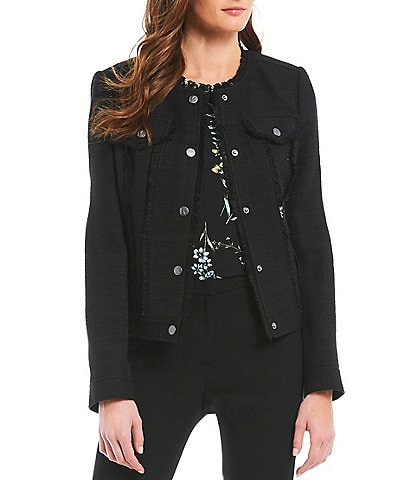 KARL LAGERFELD PARIS Button Up Tweed With Fringe Denim Jacket