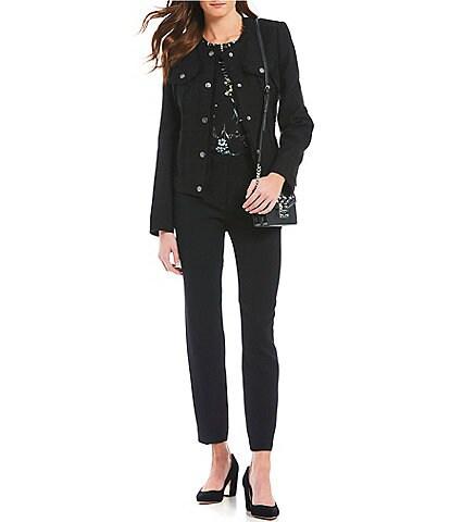 KARL LAGERFELD PARIS Button Up Tweed With Fringe Denim Jacket
