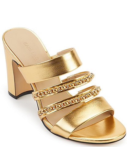 KARL LAGERFELD PARIS Cambrie Leather Chain Slide Sandals