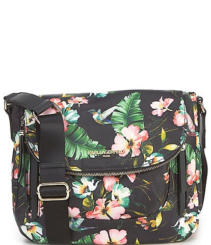 KARL LAGERFELD PARIS Cara Nylon Floral Magnetic Zip Messenger Bag