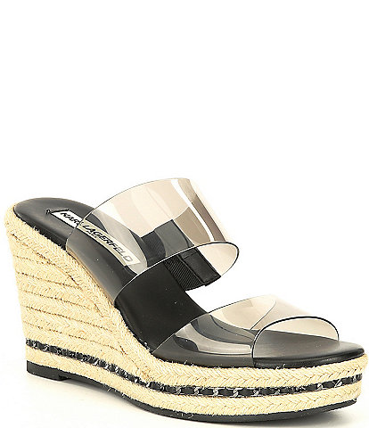 KARL LAGERFELD PARIS Cecily Clear Chain Espadrille Wedges