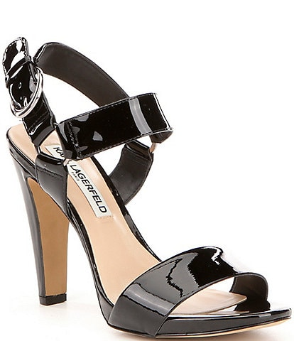 KARL LAGERFELD PARIS Cieone Ankle Strap Patent Leather Dress Sandals