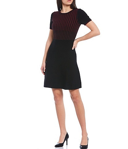 KARL LAGERFELD PARIS Colorblock Knit Short Sleeve Sweater Dress
