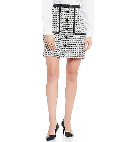 KARL LAGERFELD PARIS Contrast Button Detail Tweed Skirt