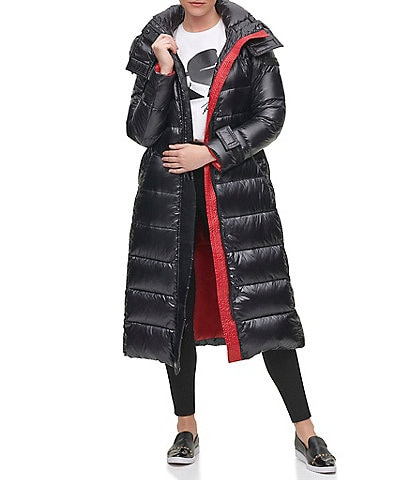 KARL LAGERFELD PARIS Contrast Maxi Belted Hooded Puffer Coat