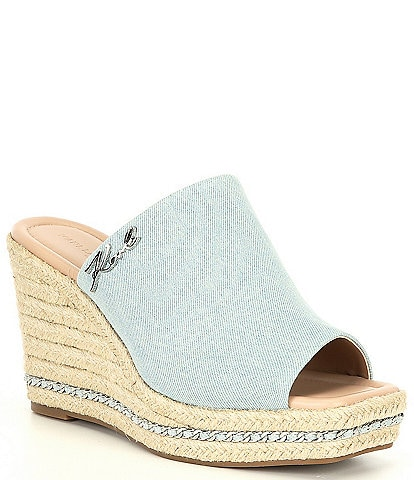 KARL LAGERFELD PARIS Corissa Denim Espadrille Wedges