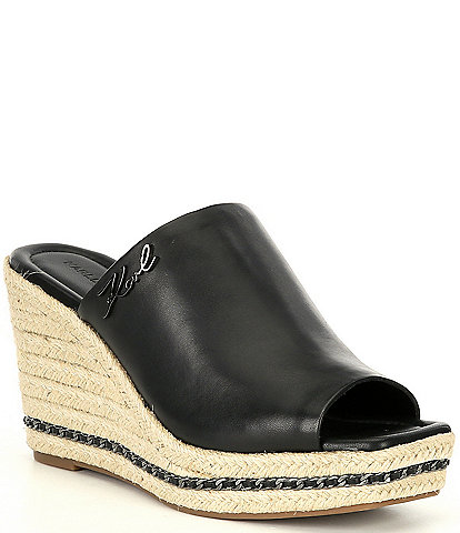 KARL LAGERFELD PARIS Corissa Leather Platform Wedge Espadrilles