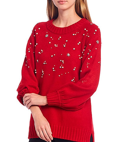 KARL LAGERFELD PARIS Cowl Neck Embellished Sweater