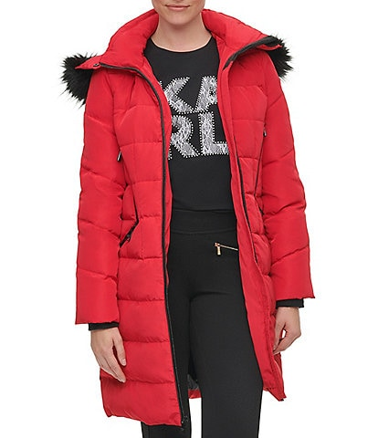 KARL LAGERFELD PARIS Detachable Faux Fur Trimmed Hooded Long Down Puffer Coat
