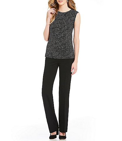 KARL LAGERFELD PARIS Dotted Foldover Neck Top