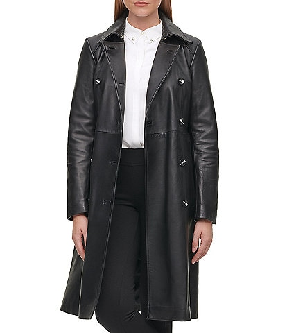KARL LAGERFELD PARIS Double Breasted Belted Leather Trench Coat