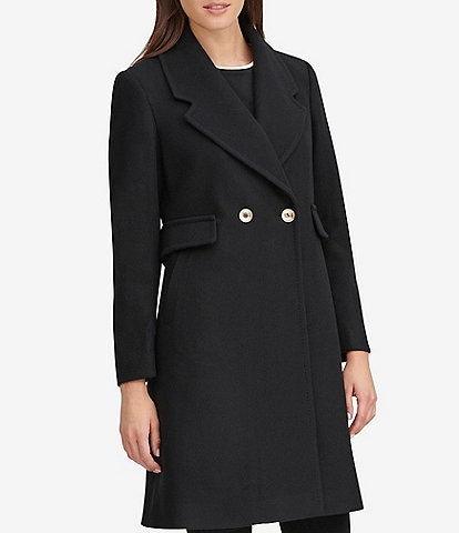 KARL LAGERFELD PARIS Double Breasted Wool Blend Blazer Coat