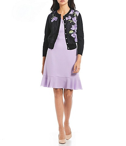 KARL LAGERFELD PARIS Floral Embroidered Button Front Cardigan