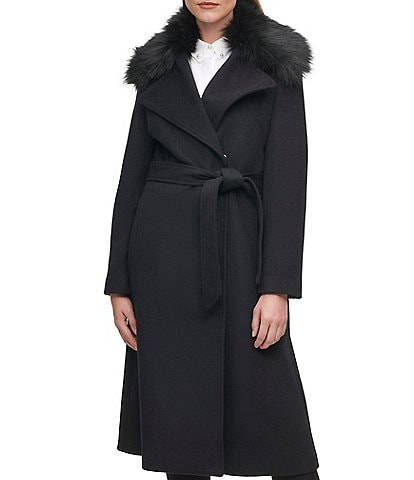 KARL LAGERFELD PARIS Faux Fur Collar Wool Blend Wrap Coat
