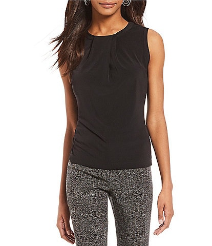 KARL LAGERFELD PARIS Foldover Neck Sleeveless Top