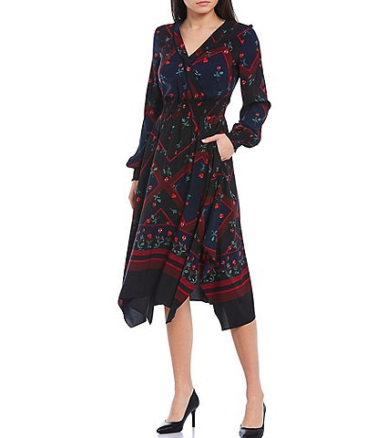 KARL LAGERFELD PARIS Geometric Floral Printed Chiffon Long Sleeve Handkerchief Hem Midi Dress