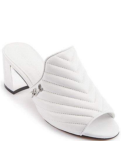 KARL LAGERFELD PARIS Henley Chevron Stitched Leather Peep Toe Slides