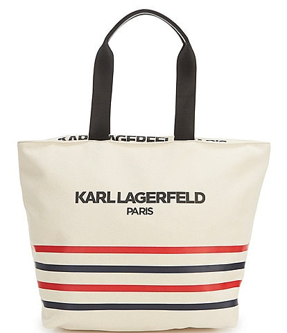 KARL LAGERFELD PARIS Kristen Stripe Canvas Top Zip Tote Bag