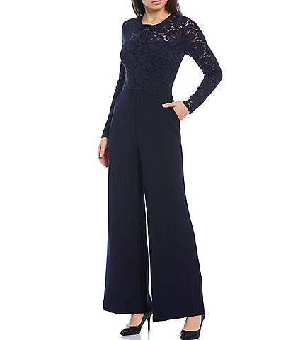 KARL LAGERFELD PARIS Lace Bodice Scuba Crepe Long Sleeve Jumpsuit with Pockets