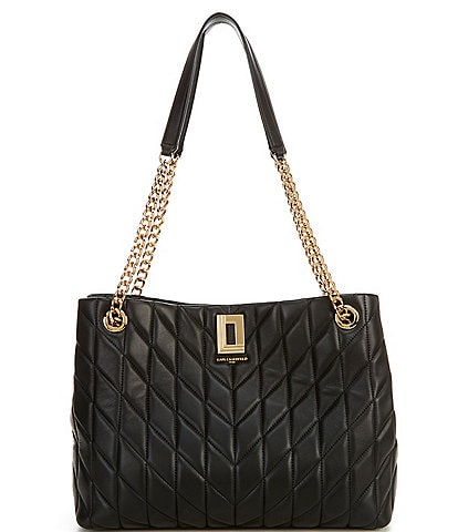 KARL LAGERFELD PARIS Lafayette Quilted Leather Snap Tote Bag