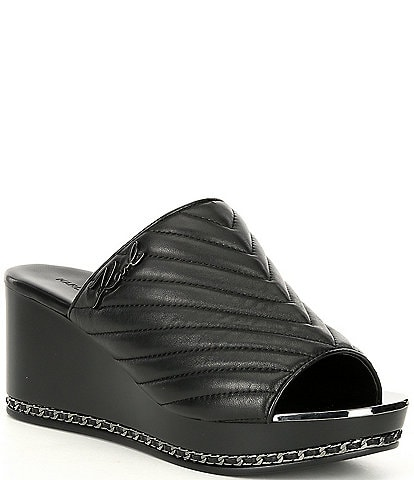 KARL LAGERFELD PARIS Leni Chevron Stitched Leather Chain Detail Wedge Sandal