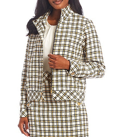 KARL LAGERFELD PARIS Long Sleeve Plaid Tweed Bomber Jacket
