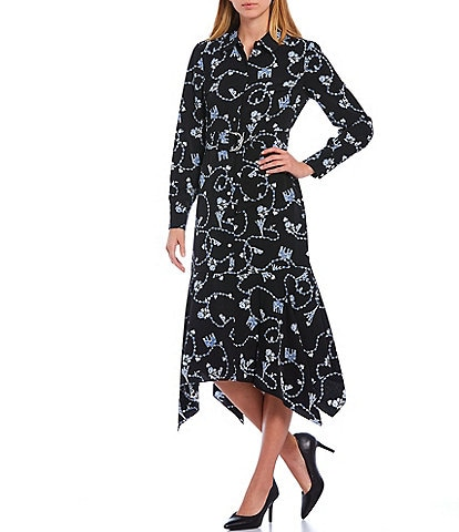 KARL LAGERFELD PARIS Long Sleeve Silky Crepe Handkerchief Hem Midi Shirt Dress