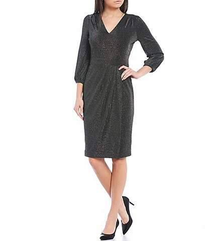 KARL LAGERFELD PARIS Metallic Knit 3/4 Sleeve Faux Wrap Sheath Dress