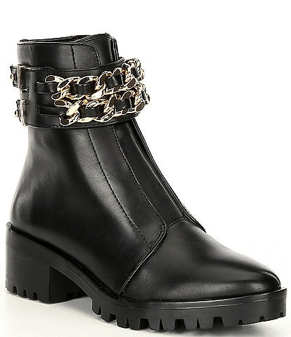 KARL LAGERFELD PARIS Palmer Chain Detail Leather Block Heel Combat Boots
