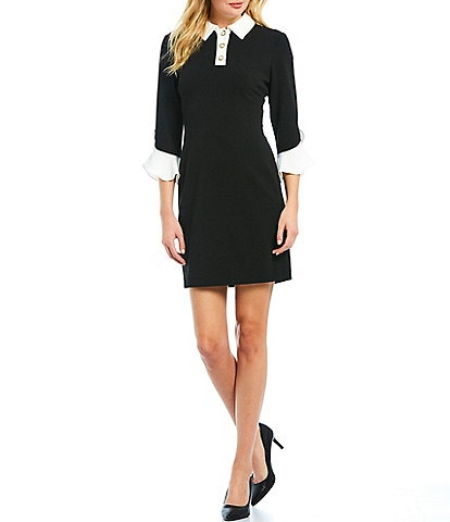 KARL LAGERFELD PARIS Pearl Collar Contrast Bell Sleeve Scuba Crepe Sheath Dress