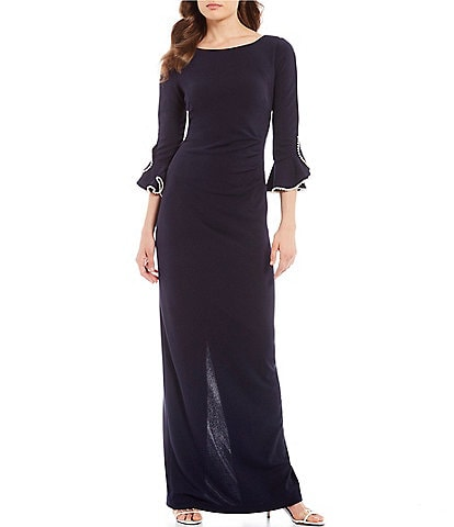 KARL LAGERFELD PARIS Pearl Trim Bell Sleeve Gown