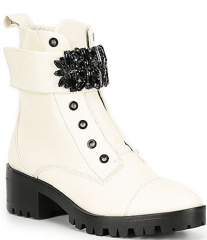 KARL LAGERFELD PARIS Pippa Jeweled Strap Leather Block Heel Combat Booties