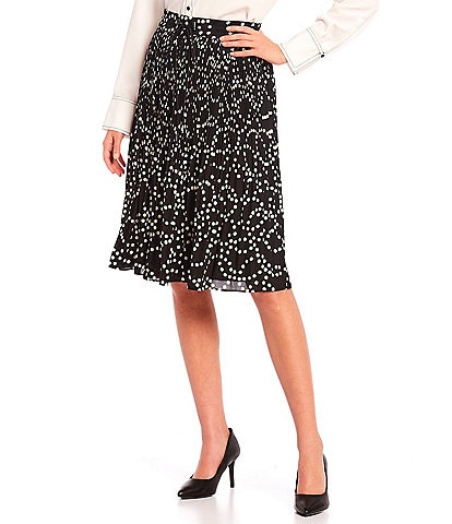 KARL LAGERFELD PARIS Pleated Polka Dot Georgette A-Line Skirt