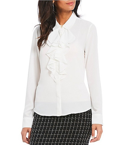 KARL LAGERFELD PARIS Ruffle Front Blouse