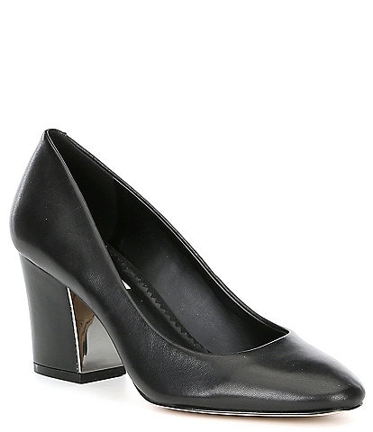 KARL LAGERFELD PARIS Sabrina Leather Block Heel Pumps