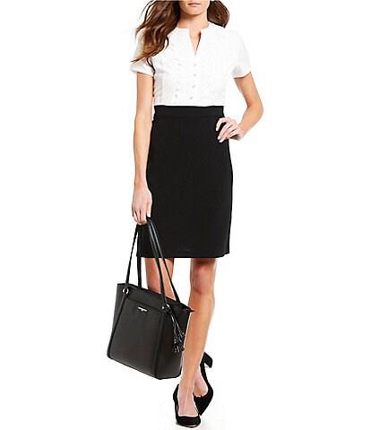 KARL LAGERFELD PARIS Short Sleeve Contrast Lace Dress