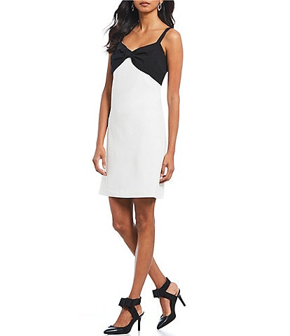 KARL LAGERFELD PARIS Sleeveless Crepe Shift Dress with Bow Front