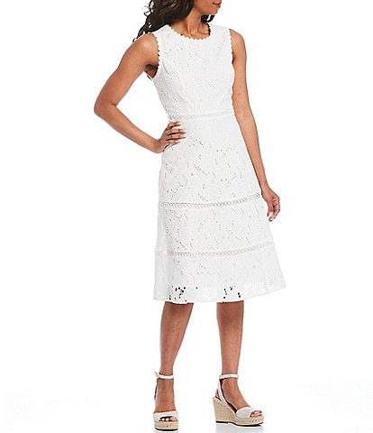KARL LAGERFELD PARIS Sleeveless Lace Eyelet A-Line Midi Dress