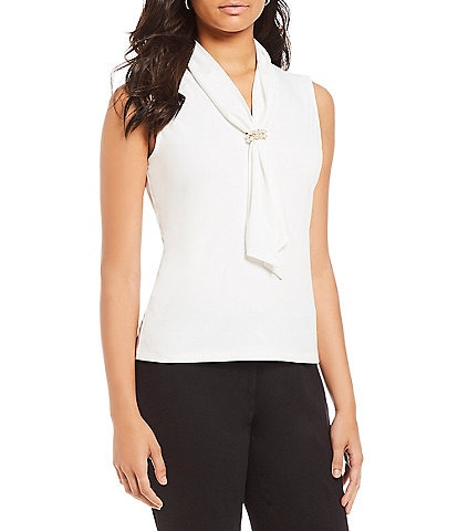 KARL LAGERFELD PARIS Sleeveless Pearl Cuffed Tie Knit Top