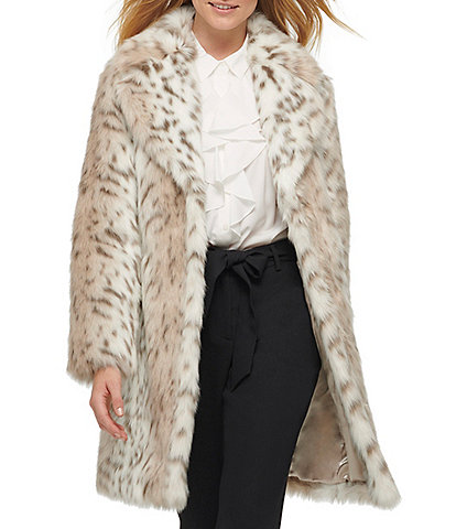 KARL LAGERFELD PARIS Snow Leopard Print Faux Fur Coat