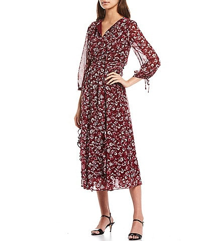 KARL LAGERFELD PARIS Tie Neck 3/4 Sleeve Floral Print Chiffon Midi Dress
