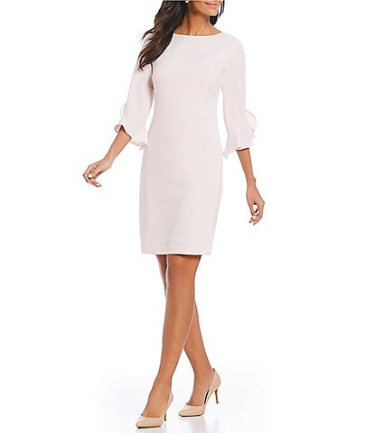 KARL LAGERFELD PARIS Tulip Bell Sleeve Crepe Sheath Stretch Dress