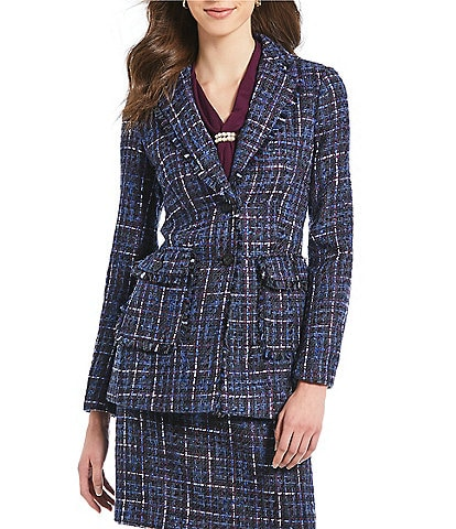 KARL LAGERFELD PARIS Tweed Notch Collar Blazer