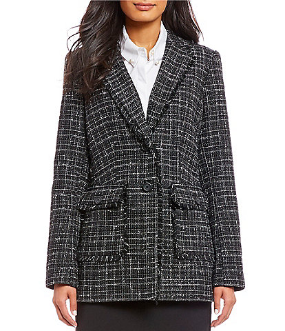 KARL LAGERFELD PARIS Tweed Notch Collar Jacket