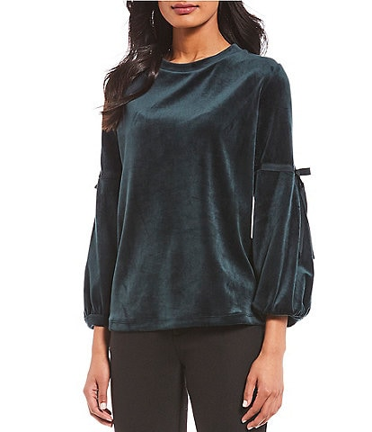 KARL LAGERFELD PARIS Velour Balloon Sleeve Blouse