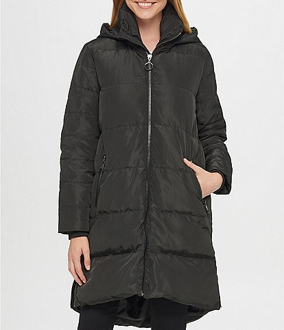 KARL LAGERFELD PARIS Wedge Long Detachable Hooded Down Puffer Coat