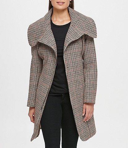 KARL LAGERFELD PARIS Wide Wing Collar Houndstooth Plaid Zip Front Belted Wool Blend Coat